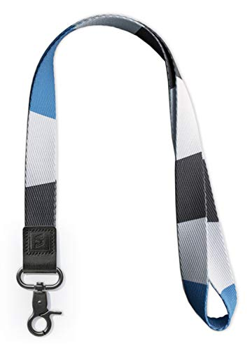 SENLLY Umhängeband Schlüsselband Neck Lanyard strip mit Karabinerhaken und echtem Leder, für ID Badge Card Holder, Ausweishülle, Schlüssel, Mobile Handys Telefon (Atlantic)