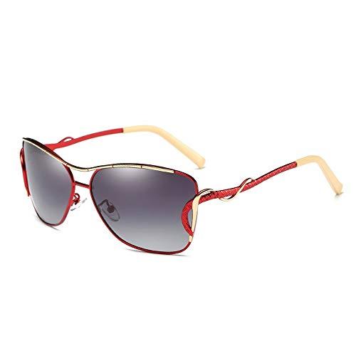 Gläser Polarisator Damen Outdoor Brille Klassische Sonnenbrillen Mode Sonnenbrillen Brillen (Color : Rot, Size : Kostenlos)