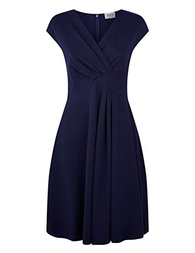 Blooming Jelly Damen Kleid Ruched Wrap Eine Linie V-Ausschnitt Crissover Pleat Cocktailkleid Blau #1