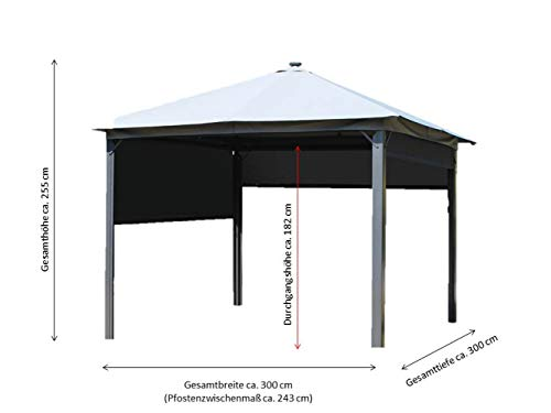 Leco Lina Pavillon, Solarpavillon, Anthrazit, Lichtgrau, ca. L B 300 x H 255 cm