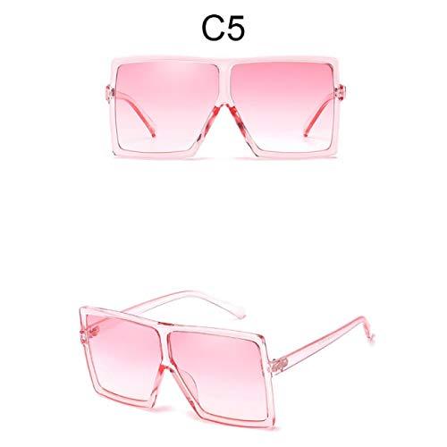 DEFG&FAD Übergroße Sonnenbrille Frauen Quadrat Sonnenbrille Klar Brillen Big Flat Top Shades Für Weibliche Oculos, 5