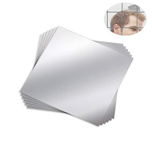 Mengger Espejo Pared Adhesivo Flexibles Láminas Hoja Conjunto Decorativos Cuadrado Acrílico Auto-Adhesivas...