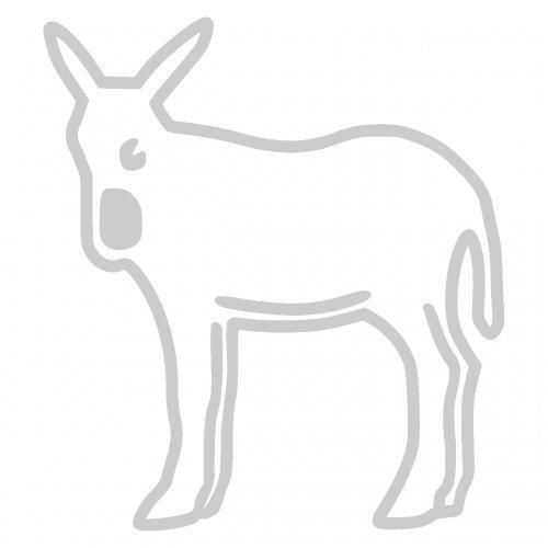 Katalanischer Esel Aufkleber Outline in 9 Größen und 25 Farben (3,6x4cm silbermetalleffekt)