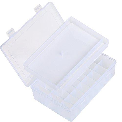 LIHAO Plastik Aufbewahrungsbox (24 Raster) für Snaps Drückknöpfe Schmuckschatulle Werkzeugcontainer (Zusammen Snap Perlen)
