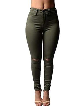 Bild nicht verfügbar. Keine Abbildung vorhanden für. Farbe  Damen High  Waist Zerrissen Jeans Stretch Dünn Skinny Lässige Leggins Hose ... e02ab81ade