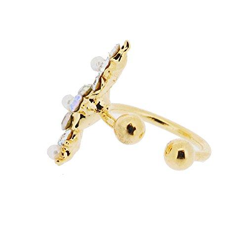 Picchi placcato oro di cristallo del fiore orecchino del polsino. Splendidamente presentato in una confezione regalo e organza sacchetto rosso.