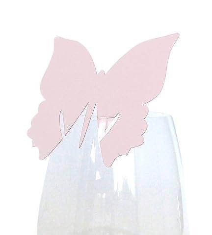 50x Tischkarten Hochzeit EinsSein® Schmetterling rosa - Tischkarten, Platzkarten, Namenskarten, Platzkartenhalter