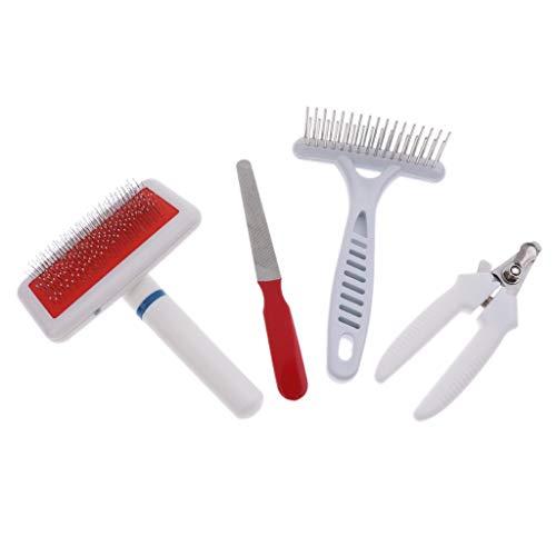 Homyl Haustierpflege Werkzeuge Set - Fellpbürste, Tierhaarkamm, Krallenzange und Nagelfeile - zur Fellpflege und Krallenpflege für Hunde & Katzen - Weiß-Rot