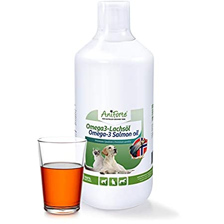 AniForte Lachsöl für Hunde & Pferde 1 Liter – Omega 3 & Omega 6 Fettsäuren, Premium Fischöl für Welpen, Adult, Senior…