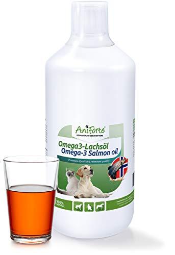 AniForte Premium Lachsöl für Hunde, Katzen 1 Liter - Kaltgepresst mit Omega 3 und Omega 6 Fettsäuren, Fischöl für Welpen, Adult, Senior, Ohne Zusätze, Barf Ergänzung, Einfache Dosierung