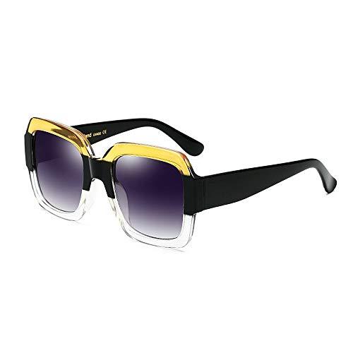 JFFFFWI Stilvolle Sonnenbrille für Frauen zweifarbige übergroße quadratische Sonnenbrille für Frauen und Männer UV-Schutz Unisex Rimmed Sonnenbrille Stylische Sonnenbrille für große Damen zum Fahren