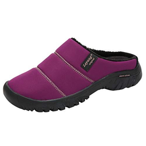 Yowablo Damen große Größe lässig nach Hause sowie samt warme Schuhe Bequeme Baumwollpantoffeln (38 EU,2- Lila)