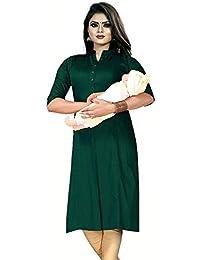 Prime Mart Cotton Straight Maternity/Nursing/Easy Feeding/Breastfeeding/Kurti/Kurta/Dress/with Zippers for PRE and Post Pregnancy
