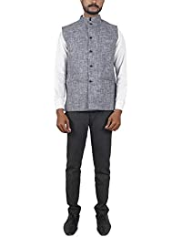 Bihar Khadi Men's Cotton Nehru Jacket (Grey, 38, bkctncw0005)