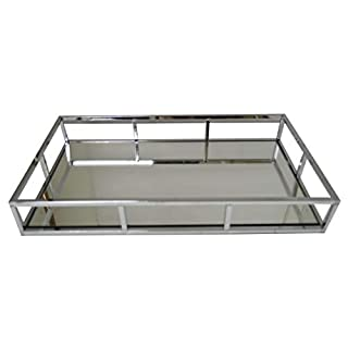New Decorative Silver Metal Serving/Dressing Table Rectangular Tray with Mirror Glass Base (AR90 Silver)