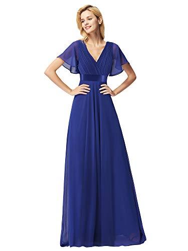 Ever-Pretty Vestito da Festa Donna Damigella Scollo V Lungo Blu Zaffiro 54EU