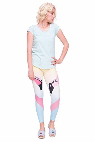 Kukubird Verschiedene Einhorn Flamingo Emoji Patterns Frauen Gym Fitness Leggings Running Yoga Pilates Skinny Hosen Strumpfhosen Größe 8 bis 12 Stretchable Two Flamingos