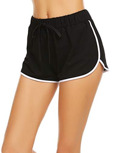 Damen Kurze Hose Shorts Schlafanzughose Schlafhose Yoga Sporthose Running Gym Beiläufige Elastische Shorts, Schwarz, Gr. S(34-36) -