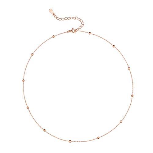 Collana girocollo minimalista per donne, adolescenti e ragazze, catena con perline, semplice girocollo regolabile in argento, oro, oro rosa e argento, cod. n202
