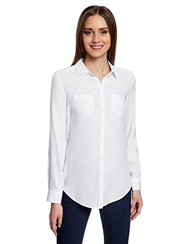 oodji Ultra Damen Bluse mit Brusttaschen und Verstellbaren Ärmeln, Weiß, DE 40 / EU 42 / L
