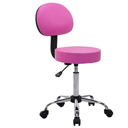 Wohnmöbel Swivel PU Leder Bürostuhl, Küche Frühstück Bar Barhocker, Computer Stuhl, Gas Lift Swivel Bar Chair, Rücken Gas Lift Einstellbar 52-60x35x35cm FENPING (Color : Pink) -
