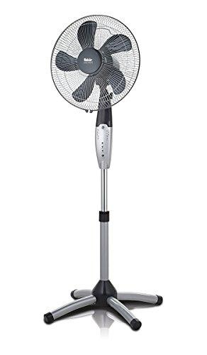 Fakir VC 40 S Prestige Standventilator mit Fernbedienung, Standlüfter - höhenverstellbar 120-140 cm, 3 Geschwindigkeitsstufen, Timer, Oszillationsfunktion 50°, leise, 55 Watt, W, silber/dunkelgrau