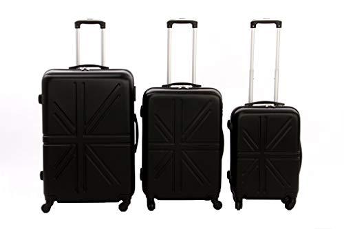 Dublin set da 3 pezzi valige trolly in abs e policarbonato con 4 ruote girevoli 360° gradi colori vari (nero)