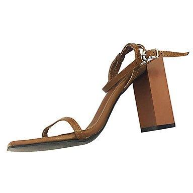LvYuan Da donna Sandali PU (Poliuretano) Estate Formale Fibbia Quadrato Nero Marrone scuro 5 - 7 cm Dark Brown