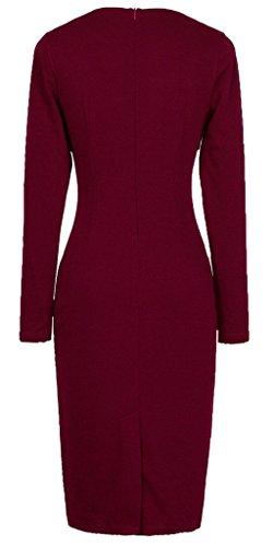 HOMEYEE Damen Karree-Ausschnitt vorne Buttons Cocktailkleid Business Kleid  B10 Carminrot