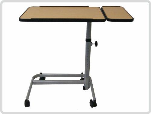 Hochwertiger, robuster, Profi Beistellwagen 2-geteilt, Bett-Tisch Farbe: BRAUN/SILBER *Top-Qualität*
