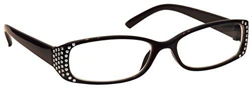La Compañía Gafas De Lectura Negro Diamonte Estilo Distancia Gafas de Miopía Mujeres Señoras UVM093BK Dioptria -1,50