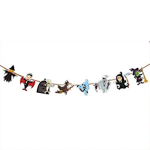 een Flagge für Party/Einkaufszentrum Dekoration Oder Karneval Girlande aus Papier von Kürbis Geister Spinne Bild Size 3mX21X20cm (Hexe und Geist) ()