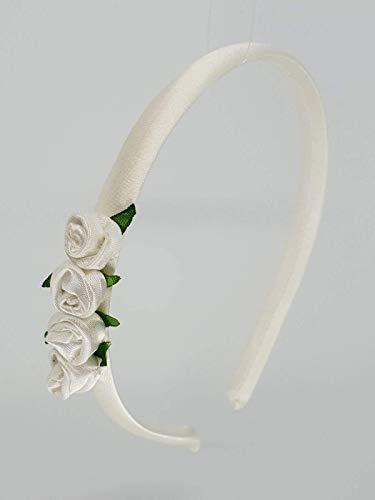 Cerchietto bambina con rose fatte a mano bianco per damigella-prima ... 82a1c65d3882