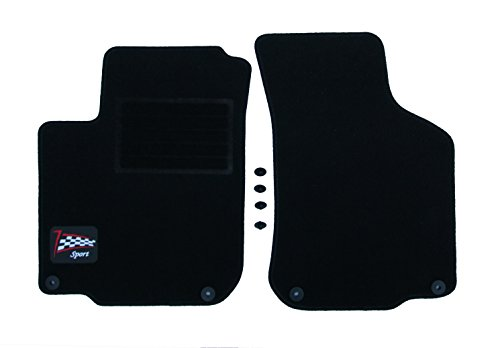 Felpudo Auto Alfombra–Felpudo (ajuste de terciopelo, con logo, 2piezas, con costuras, ANR Negra. Se de 8111