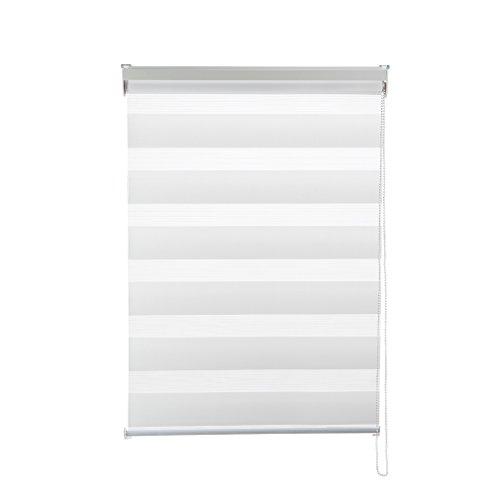 Preisvergleich Produktbild KINLO Doppelrollo 100×150 CM Weiß Klemmfix mit Bohren Lichtblick duo rollo Lichtschutz Verdunklungsrollo Gardinen