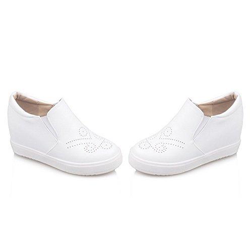 VogueZone009 Femme Rond à Talon Haut Tire Couleur Unie Chaussures Légeres Blanc