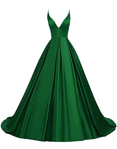 Rosae Satin Abendkleid Lange V-Ausschnitt Satin Hochzeitskleid Mädchen Prom Kleider DE 46 Grün
