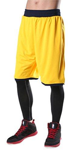 Brinny Herren Shorts Basketball Basketballhose Freizeit Sporthose Training Bermuda Fitness Strand Gelb