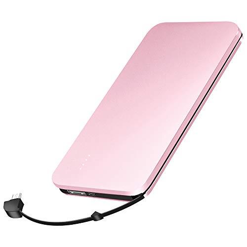 elzle tragbares Telefon-Ladegerät 10000 mAh, tragbare Power Banks eingebautes Kabel für iOS, externes Ladegerät-Pack für Android Samsung Huawei iPad Tablet