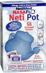 Neilmed Nasaflo netipot nasal hygiene with 50 premixed packets 240ml netipot nasal pot saline wash system