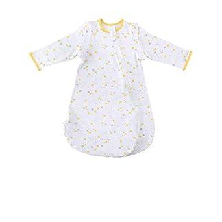 MKW – Saco de Dormir para bebé (100% algodón Premium, Saco de Dormir de Manga extraíble, Manta Suave y portátil, 0,5 TOG para 6-18 Meses) Blanco Yellow Cloud 0.5 TOG Talla:6-12 Month