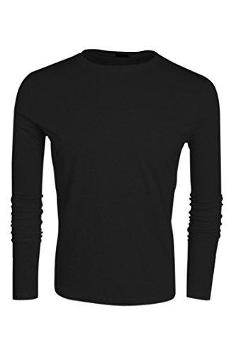 Aulei Fashion Herren T-shirt langarm Hemd Langarmshirt männer Unterhemd runder Ausschnitt Langarmhemd longsleeve Shirt Schwarz
