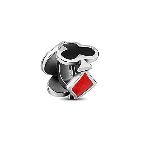 Tinysand- 925 Pur Argent Loisirs Poker Cartes a Jouer Charm, Compatible avec Bracelets Pandora