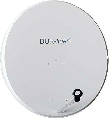 DUR-Line MDA 90cm Hellgrau - Aluminium Satellitenschüssel mit LNB Feedhalterung - Sat Antenne Spiegel Anlage [Digital, Camping, Astra 19,2°, DVB-S/S2, Full HD, 4K, 3D]