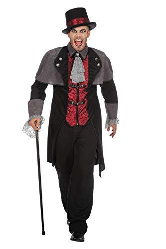 Wilbers Vampirkostüm Vampir Mantel Dracula Herren Kostüm Halloween Herrenkostüm M-XXL Schwarz/Grau 48 (M)