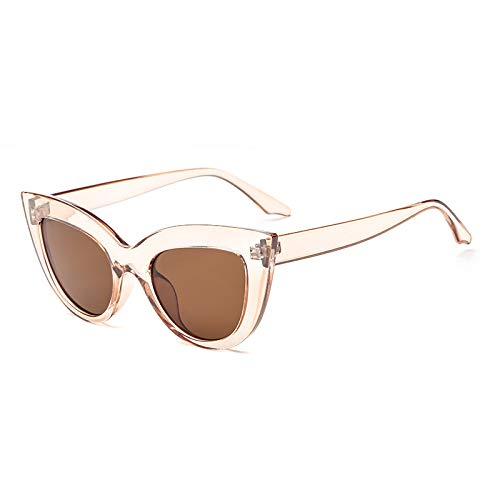 Yangjing-hl Mode Katzenaugen Big Box Sonnenbrille Trend Sonnenbrille weiblichen Multi-Color- Champagner-Tee