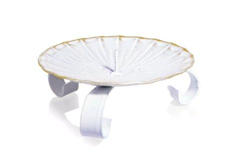 Kerzenhalter Taufkerzen Dreifussleuchter Weiss/Gold, 80 mm Durchmesser