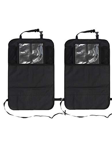 Auto Companion - Set di 2 tappetini paraschiena impermeabili per sedili dell'auto, con tasche portaoggetti e supporto per tablet con schermo fino a 12'