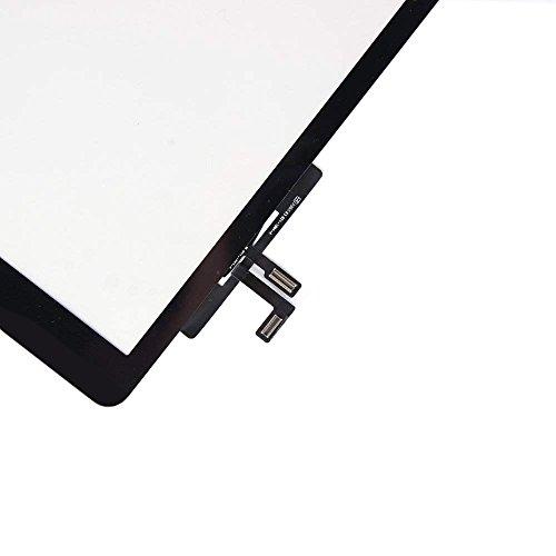 Touch screen in vetro digitalizzatore per Apple iPad 3 con tasto Home e fotocamera staffa e nastro adesivo premontati Nero nero
