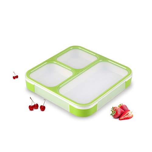 yylikehome 1200m BPA Free Lunch Lunch Box Contenitore per Alimenti per microonde con Scomparti a Tenuta stagna Bento Box per Studenti Lavoratori 3 Scomparti Verdi